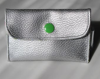 Coin / silver faux leather card holder