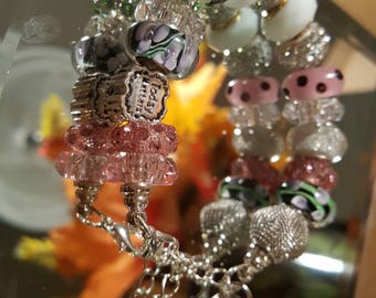 Pink and Green European Charm Bracelet, European Glass Charm