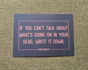 Mental health postcard - If you can't talk about your head