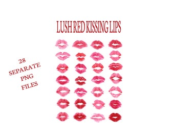 Buy 3 get one free. Lush Kissing Lips, 28 x Separate PNG Files, Pink and Red Lipstick Kisses, Instant Download.