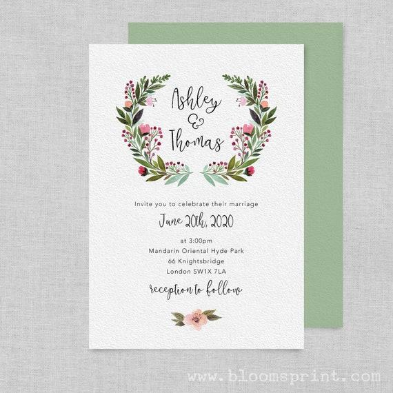 Watercolour wedding invitation printable, Rustic wedding invitation template, Floral boho wedding invitation, Simple wedding invites, PDF