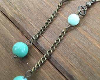 Bronze, Boho, Industrial, Turquoise and Light Green Bead and Chain, Dangle, Drop Earrings