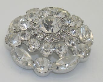 Vintage Weiss Clear Rhinestone Domed Brooch/Pin