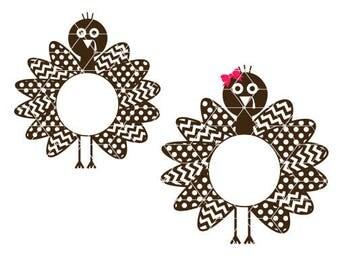 Turkey SVG, Thanksgiving SVG, Turkey Cut File, Instant Download, Turkey Monogram SVG, dxf