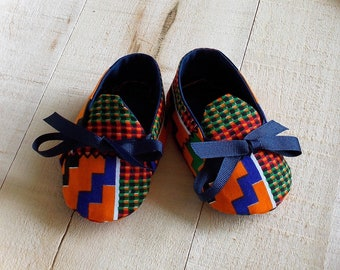 Orange Blue Green African Kente Print Baby Booties