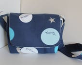 Spacethemed fabric messenger bag back to school gift starting school present shoulder bag with flap lined bag with pocket childteen