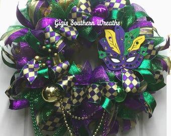 Mardi Gras Wreath, Carnival Wreath, Deco Mesh Wreath, Fat Tuesday, Mardi Gras Deco Mesh Wreath, Jester Wreath, 202