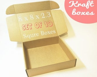 10 Cardboard Boxes With Lids - Square Box, Gift Boxes, Medium Size Corrugated Box, Packaging Supplies, Carton Paper Boxes, Gift Wrapping