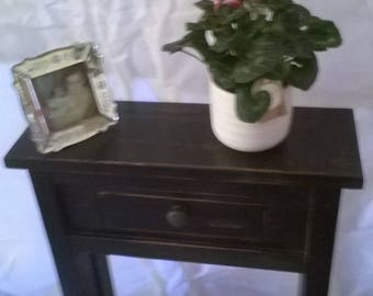 Hand antiqued side/console table with drawer