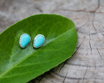 Sterling Silver Turquoise Studs •made to order• Boho style