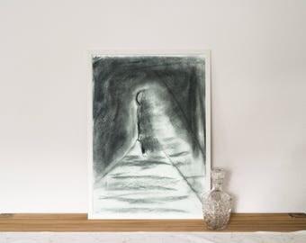 Original charcoal drawing, miniature