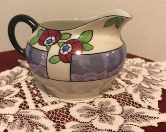 Luster Ware Blue with Red Rose Bud Creamer