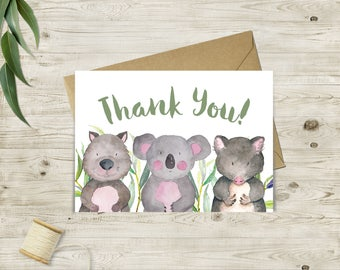 Printable Australian Animals Thank You Cards