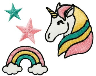 Patch/Ironing-set unicorn star rainbow-colorful-various sizes-by catch-the-Patch ® patch appliqué applications for ironing application patches patch