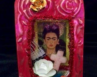 Shrine Retablo Miniature Matchbox Altar Frida Kahlo Red