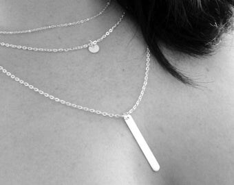Silver Bar Layered Necklace | Silver Coin Necklace Silver Disc Necklace Silver Bar Necklace Silver Layered Necklace Silver Layering Necklace