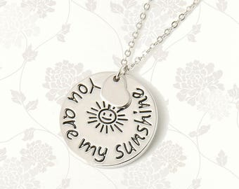 You Are My Sunshine Necklace | My Only Sunshine | Mom Mum Mommy Pendant | Mothers Day | Mother Daughter Family Gift Silver Jewelry Jewellery