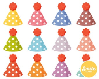 Polka Dot Party Hat Clipart Illustration for Commercial Use   0512