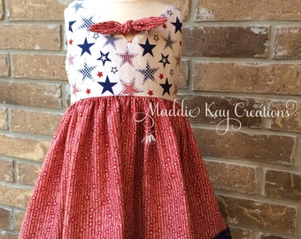 Stars of Freedom Dress, 3T, toddler dress, red white and blue, Fourth of July dress, patriotic dress, girls dress, sleevless summer dress