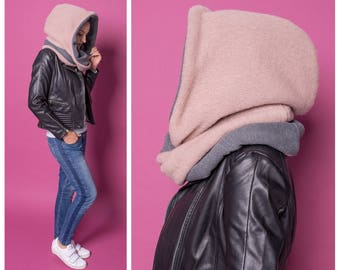 Snood femme, Wool large hood beige grey, women hooded scarf, hoodie infinity scarf, oversized circle scarf, gift for sister, echarpe capuche