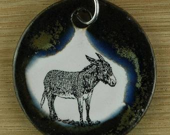 Orginal handicraft: pendant with a cute donkey. jewellery charm science biology vintage