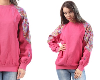 80s Pink Sweatshirt Color Block Raglan Sleeve Long Sleeve Shirt Abstract Print Cotton Slouchy 1980s Vintage Oversized Normcore Large