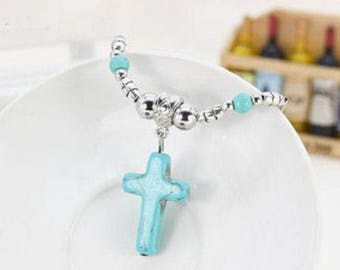 Turquoise Cross and Tibetan Silver Necklace