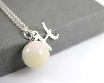 DIY Breastmilk Solid Pearl and Initial Sterling Silver Necklace Kit , Do it Yourself DNA Breastmilk keepsake