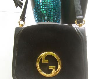 GUCCI Italy Rare Black Suede Shoulder Bag