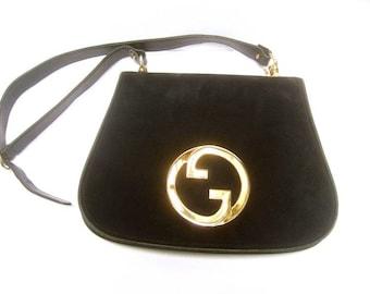 Gucci Midnight Blue Doeskin Suede Shoulder Bag. 1970's. Super Rare.