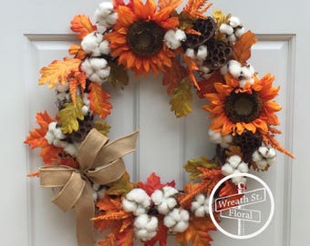 Fall Wreath, Autumn Wreath, Orange Wreath, Sunflower Wreath, Cotton Boll Wreath, Front Door Wreath, Grapevine Wreath, Door Wreath