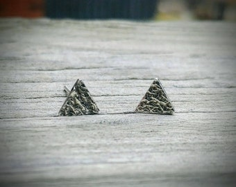 Textured Triangle Studs * Geometric Studs * Reticulated Texture * Triangle Earring Studs * Handmade Stud Earrings