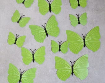 12 butterflies green 3D stick or magnetic 6 to 12 cm