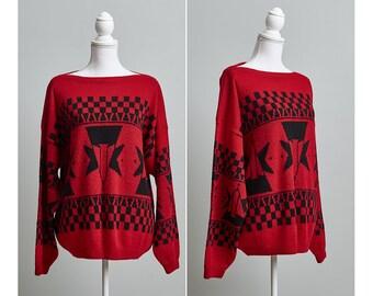 80s Oversized Sweater, Oversized Knit Sweater, 80s Geometric Sweater, Esprit