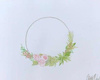 Floral Wreath - original watercolor