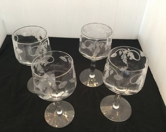 4 Tiffin Franciscan Thistle Poppy Optic Water/Wine Glasses