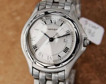 Cartier Swiss Made Panthere Ronde 32mm Stainless Steel Mens Dress Watch SIW176