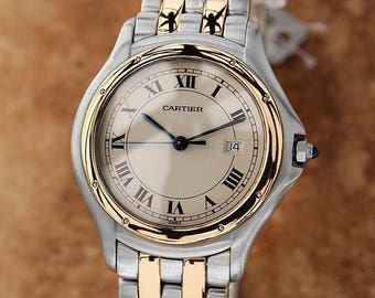 Cartier Panthere Round 18k Gold Stainless Unisex 7 inch 33mm Luxury Watch LV18