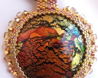 Glass dichroic Lampwork and Swarovski - set round neck pendant.