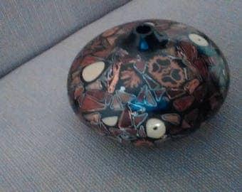 Custom turned inlaid wood vase, one of a kind
