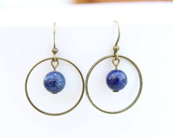 Blue lapis lazuli and bronze ring earrings