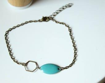 Bronze turquoise sequin and hexagonal ring bracelet