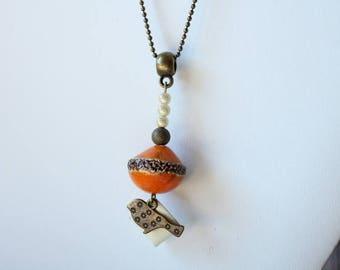 Orange ceramic Pendant Necklace Bead sequin white enamel