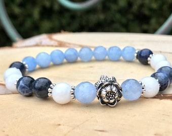 Yoga lotus bracelet mala bracelet Lotus sodalite Jade