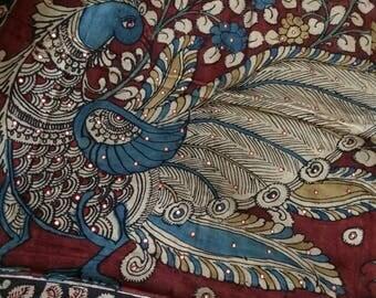 Beautiful kalamkari hand painted Chanderi Cotton Dupatta