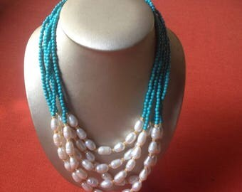 Natural White Pearl with turquoise color beads