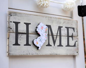 State Pallet Sign - Housewarming Gift - New Jersey Home Sign - Going Away Gift - New Jersey Decor - State Sign - Reclaimed Wood Decor - NJ