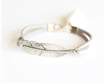 Gray bracelet silver suede feather tassel