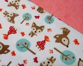 Minky Baby Blanket, Woodland Minky Blanket, Animal Blanket, Minky Blanket, Soft Blanket, Newborn Baby Blanket
