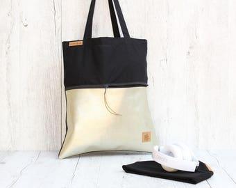 Tote bag *with zippper-bag C.H.A.M.P.A.G.N.E.// black